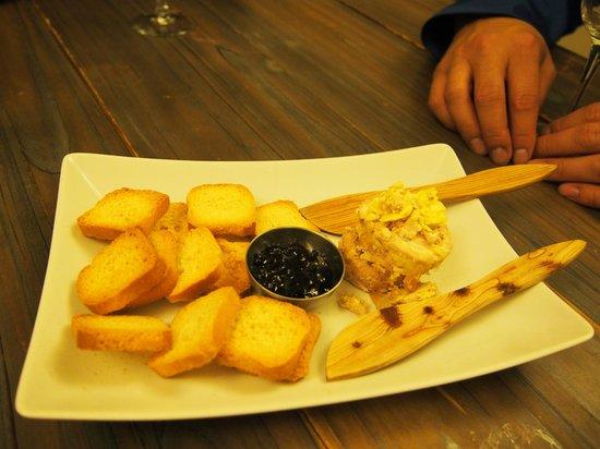 Barcelona Food Tour: Foie gras with blueberry jam.