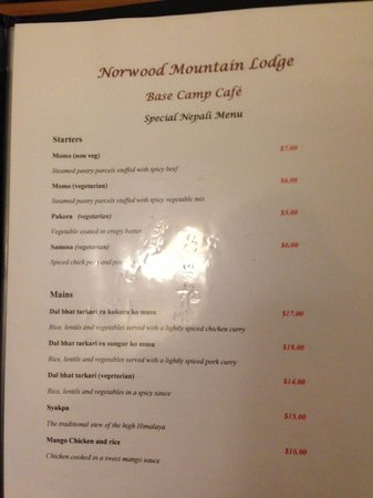 Norwood Mountain Lodge : Menu