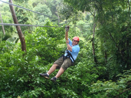 Calico Jack's Belize Jungle Canopy and Zip Lining : He's done it a million times but still enjoys it