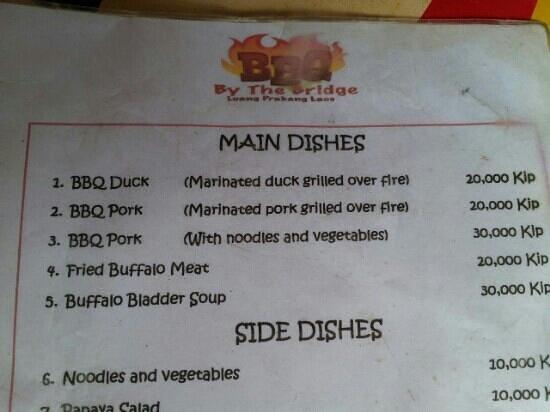 BBQ by the Bridge: the menu