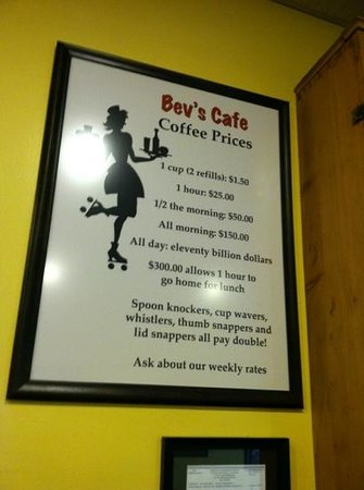 Bev's Cafe: humor goes well with the coffee
