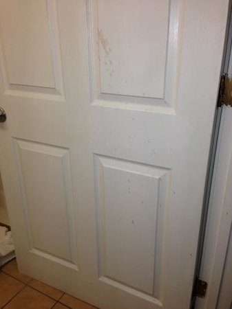 Super 8 South Bend : Nasty stuff splattered all over the doors & walls...  yuck!