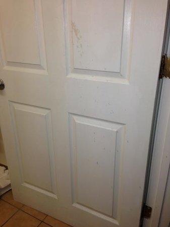 Super 8 South Bend: Nasty stuff splattered all over the doors & walls...  yuck!