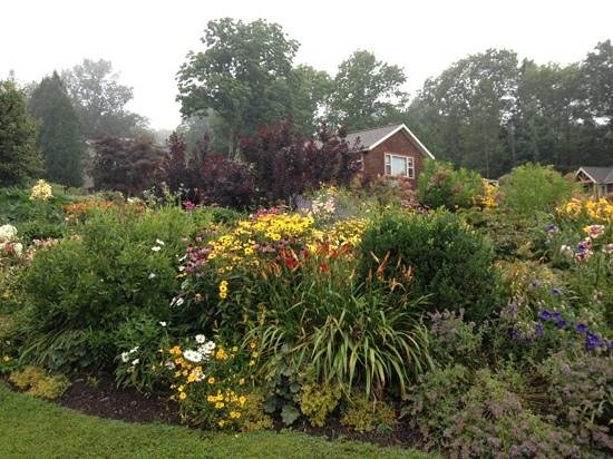 Cedarholm Garden Bay Inn: A view of our cabin and the beautiful gardens