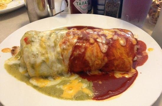 Taos Diner: the Willy burrito with red and green sauce