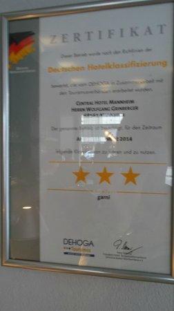 Central Hotel: zertifikat