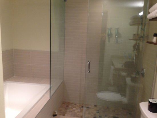 Horseshoe Resort: Large tub, glass shower