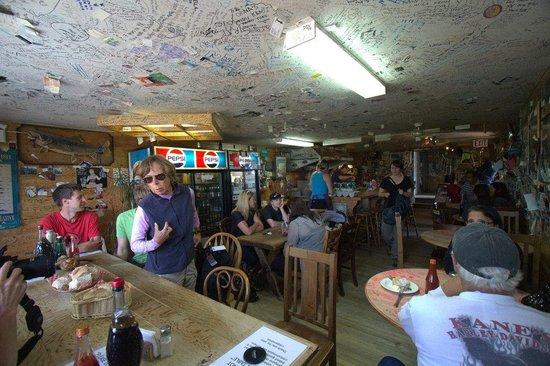 Bullocks' Bistro: Bullocks bar scene - sign the ceiling!