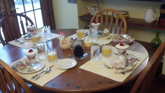 SunnySide Tower Bed & Breakfast Inn: Breakfast Parfaits, to start with,then a full breakfast.