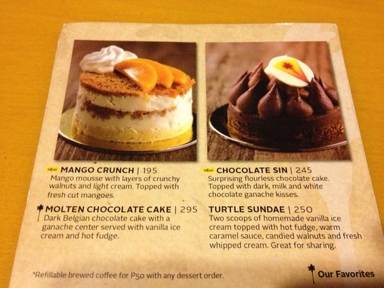 California Pizza Kitchen Dessert dessert menu - picture of california pizza kitchen, manila