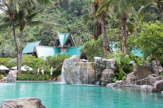 The pool area.