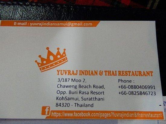 Yuvraj Indian & Thai Restaurant : Contact details