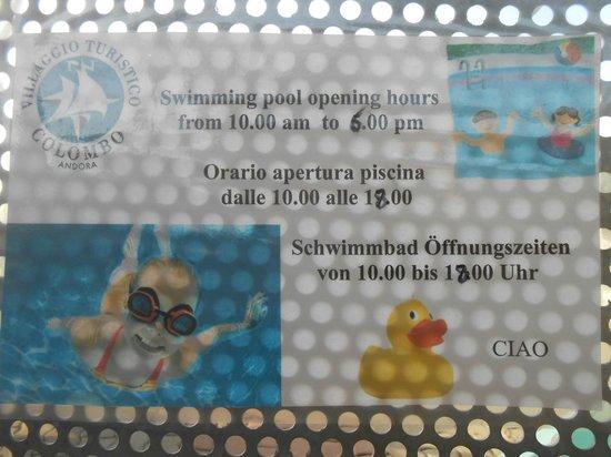 Villaggio Colombo: piscine ouverte de 10 à 18h seulement....