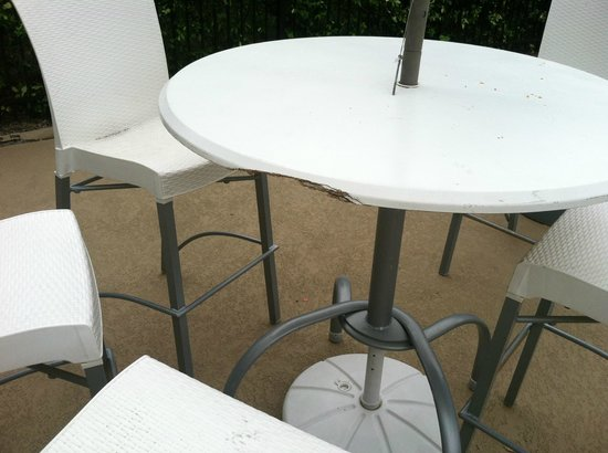 Sheraton North Houston at George Bush Intercontinental: Most of the tables in the pool area were like this!