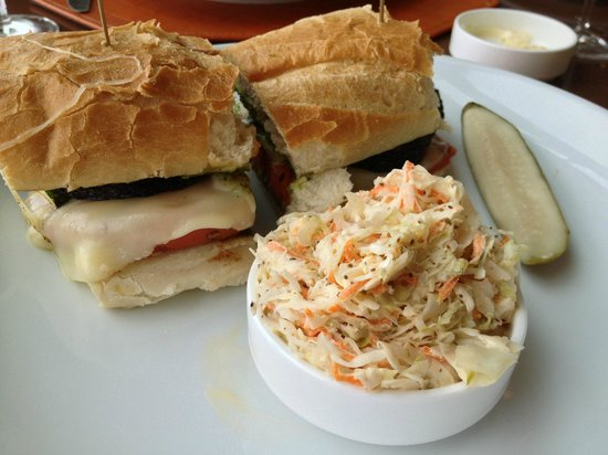Halls Chophouse : Tasty Veggie Sandwich - make sure they grill your zucchini; good coleslaw.