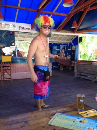 The Sugar Beach Club: Our mate George :)) one of many wonderful staff at Sugar Beach