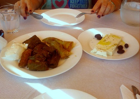 Iliomanolis Taverna: Stuffed Wine Leaves with Home Made Cheese