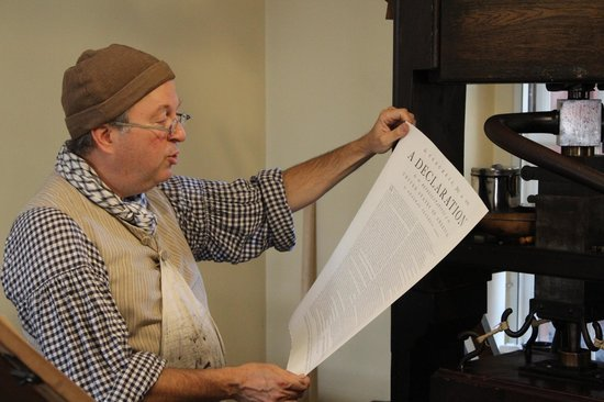 The Printing Office of Edes & Gill: Master Printer Gary Gregory, Reading from the Declaration of Independence