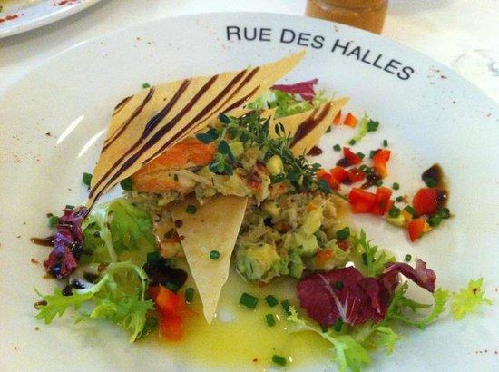 Rue des Halles: Crabe et avocats... parfait.