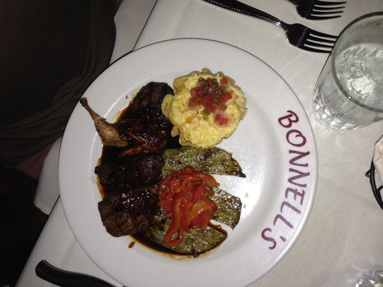 Bonnell's Restaurant: The mixed grill with a little bit of everything: elk, venison, sausage, and quail