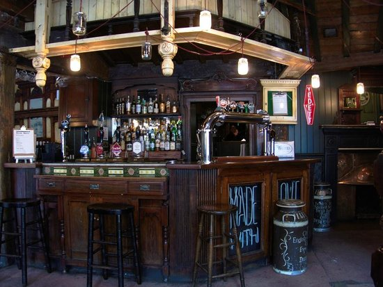 The Redhouse: Interior of one of the bars - not the lights made from old pickle bottles!