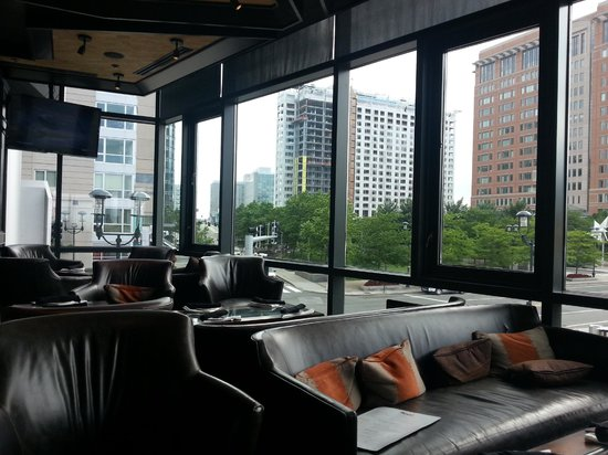 Del Frisco's Double Eagle Steak House - Boston: A view of the Seaport District fromt the bar
