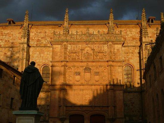 Universidad de Salamanca: la façade de l'Université vue depuis le patio des écoles