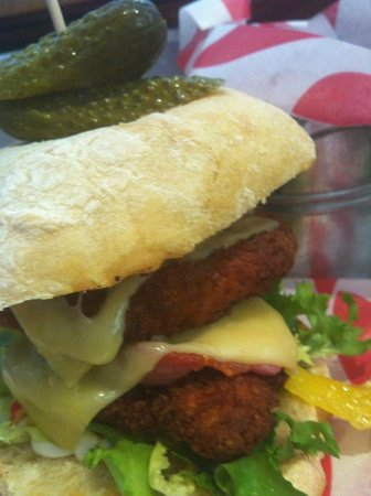 Java: southern fried chicken burger with bacon and cheese