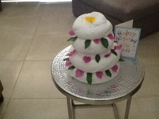the towel art cake that our maid Ahmed left for the birthday boy