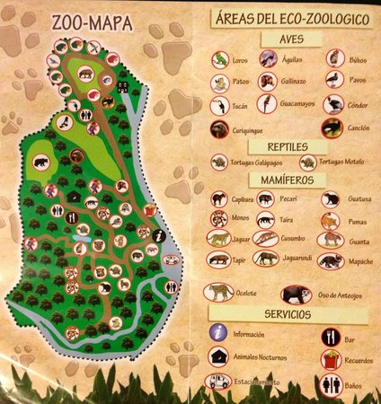 Zoologico de San Martin : Map of the zoo with a list of all the animals they have