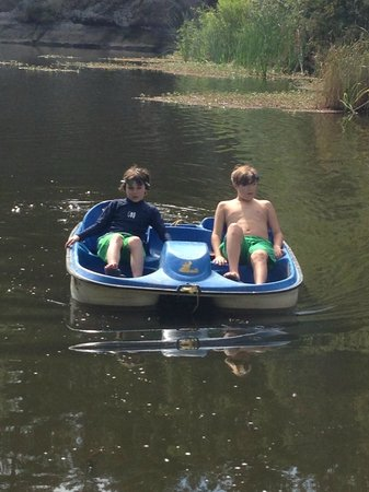 Mountain Home Ranch: Paddle boating at the lake
