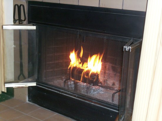 Hawthorn Suites by Wyndham Green Bay : Fireplace used in July, we did turn up the air a touch!