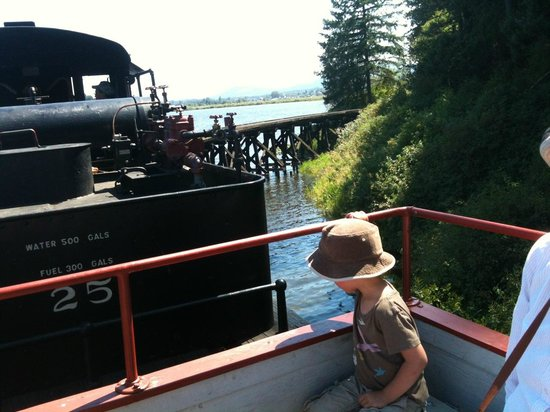 B.C. Forest Discovery Centre: Riding the trestle over the water.