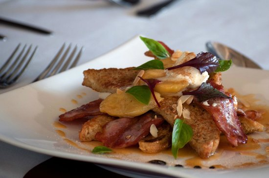 Zest Restaurant: French toast with banana, bacon and maple syrup.