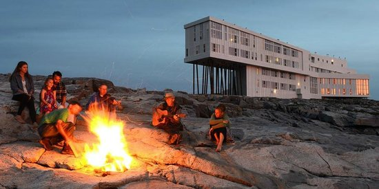 Joe Batt's Arm, Canada: Bonfire gathering by the shore, outside Fogo Island Inn