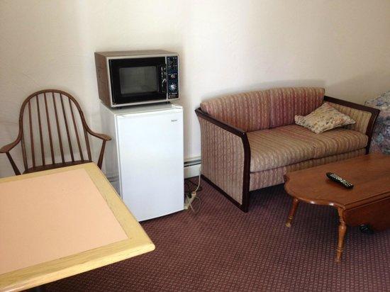 Johanna's Motel & Restaurant: Refrigerator, microwave (from last century) and seating area