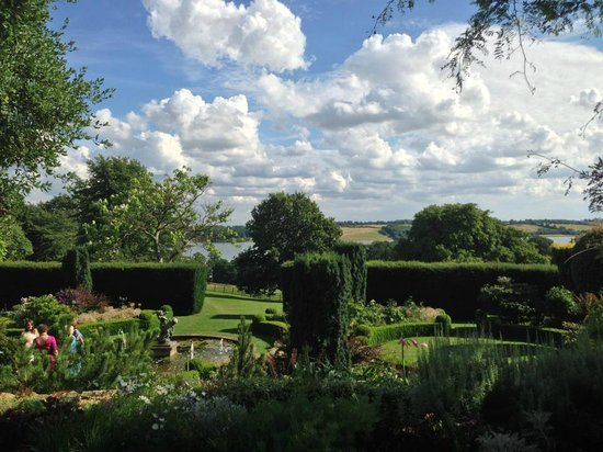 Hambleton Hall: View of the garden and reservoir beyond