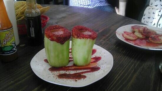 Barbanegra Aguachiles & Beer: Pepino Shots! These are the cucumber shots.