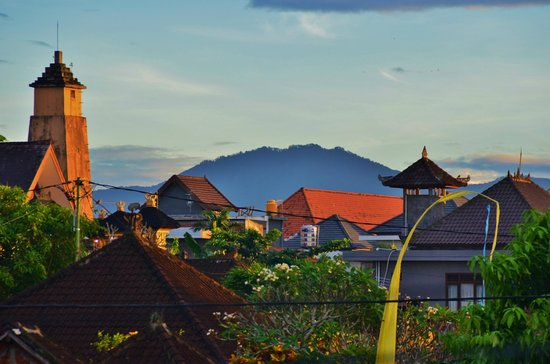 Bali Putra Villa: Gunung Batur, in the morning, view from the upstairs porch