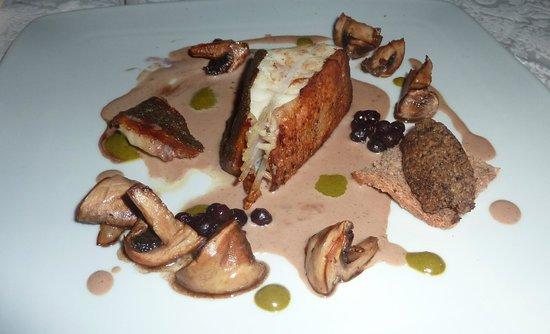 Carnevino Bistrot : Rombo con funghi, mirtilli e clorofilla.