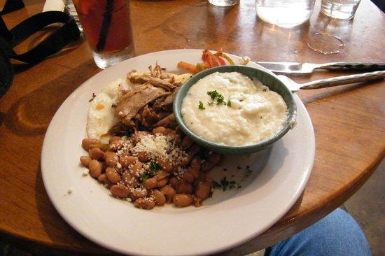 Criollo Latin Kitchen : Haitian Breakfast, pork over soft cooked egg, pintos, poblano grits