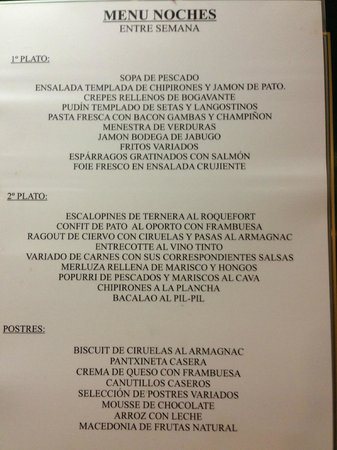 Restaurante Izkina: Menu of the Night