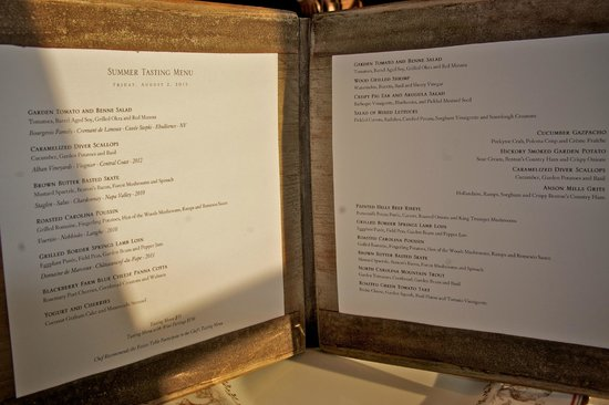 Blackberry Farm: Dinner menu--choose 1 cold and 1 hot appetizer and 1 entree