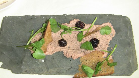 Blackberry Farm: Chicken liver pate on a slate shingle--wow!
