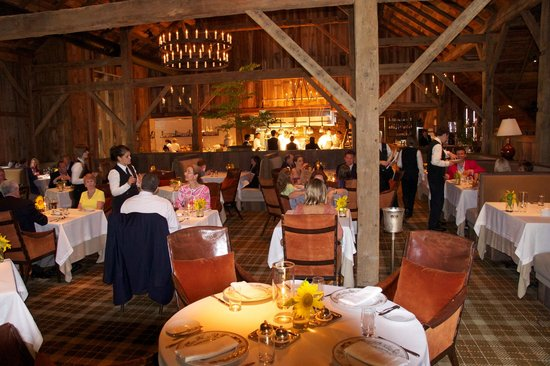 Blackberry Farm: Main dining area in barn