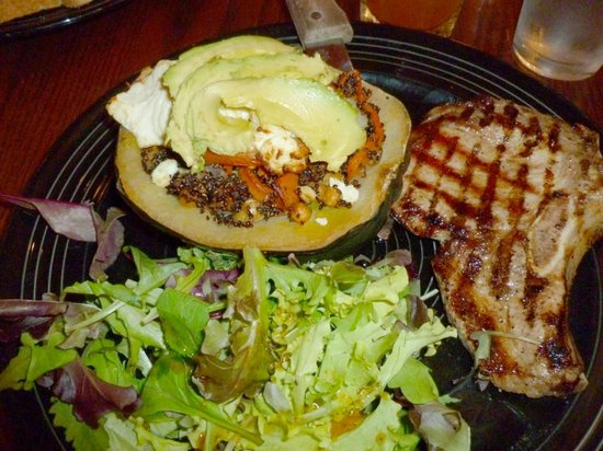 Weary Traveler Incorporated: Baked local acorn squash with pork chop and salad
