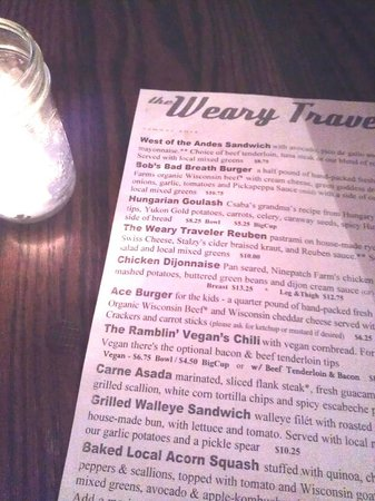 Weary Traveler Incorporated: Menu is an eclectic collection of tasty choices