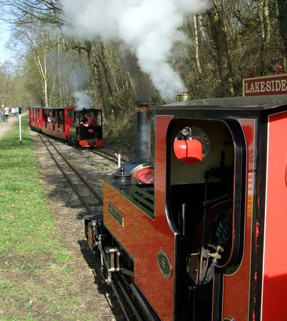 Rudyard Lake Steam Railway: Trains passing at Lakeside loop by the side of the lake
