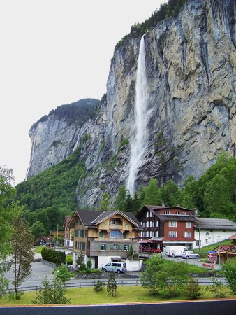 Hotel Staubbach: View of Staubbach Falls from our balcony