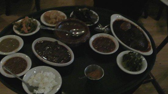 Mesob Ethiopian Restaurant: Sauces at Mesob restaurant - Montclair NJ